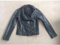 Allsaints Ladies Black Leather Jacket, Size 14