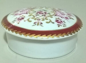 Beautiful Limoges Round Floral Trinket Box Royal Porcelain 24kt