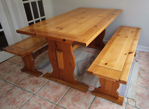 Vintage refinished trestle table + benches