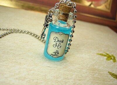 Drink Me Glow in the Dark Glass Bottle Necklace - Alice in Wonderland Vial Charm