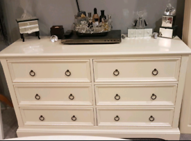 Large Julian bowen cream solid wood chest of drawers