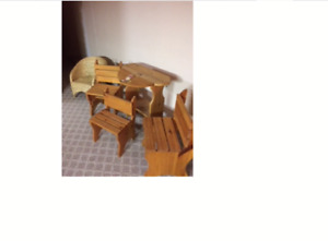 Children's toy box & table with 3 chairs all wood &wicker chair