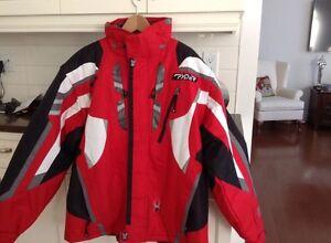 Manteau de ski homme, hiver, Spyder rouge avec capuchon
