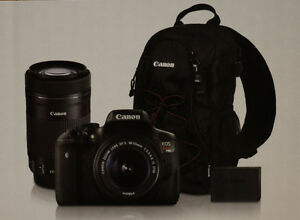 Brand New Canon Rebel T6i with 18-55mm, 55-250mm, Bag & Battery