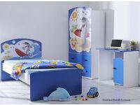 New Childrens Bed | Blue Kids Bedroom Furniture Set | Single Frame Wardrobe Desk Bedside Included