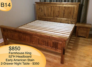 RUSTIC SOLID WOOD FARMHOUSE BEDS - TWIN/DOUBLE/QUEEN/KING/BUNK