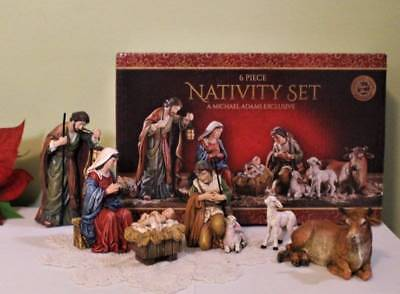 Nativity Set with Animals 5 inch Resin Michael Adams Gift Boxed