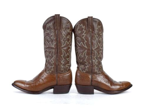 Full, Quill, Brown, Ostrich, Leather, Cowboy, Boots, Western, Ranch, Mens, Size, 9.5, D