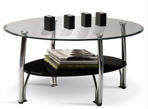 Glass & Chrome Oval Coffee Table