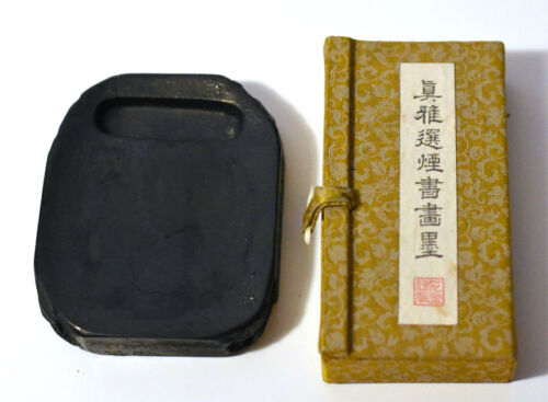 A set of an Ink Stick & Fine Heavy Hand Carving Ink Stone Historical China
