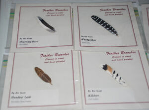 Brooches Carved in WOOD, Hand painted - Bird's Feather