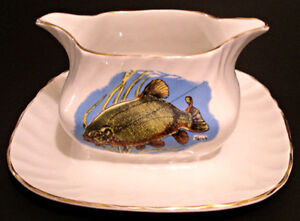 Vtg Myott Staffordshire Creamy White Fish/Gravy Boat/under tray