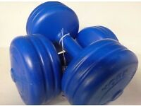 2x5kg Each Blue York Work Out Weight Training Dumbbells(10kg total Weight).