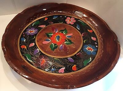 Vintage 1930s Hand Painted Wooden Tray