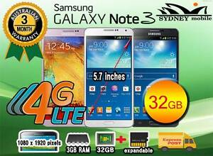 New and Used Samsung galaxy Note 3 32GB 4G Network Sydney Region Preview