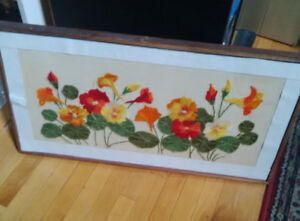 Vintage Beautiful Flowers Art - embroidery