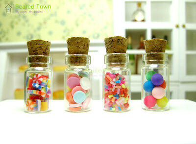 4 Dollhouse Miniature Glass Candy Jar Bottle Shop Store Kitchen Food Decor 1/12 ()