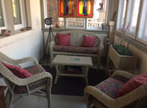 Wicker Couch, Chairs and Table Set