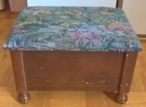 Antique Wooden Foot Stool Box Storage Padded Rest Ottoman