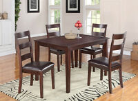 5 PC SOLID WOOD DINING SET $329/- NO TAX