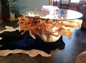 Gorgeous handcrafted rustic cedar root table