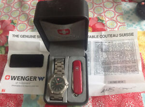 Wenger Swiss Army Knife & Watch Set Tag Omega Tissot Citizen ALS