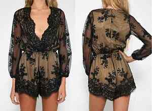 BRAND NEW Deep Plunge V-Neck Long Sleeved Beaded Sequin Playsuit Cambridge Kitchener Area image 6