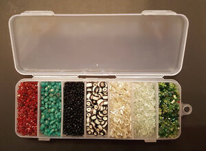 Assorted glass seed beads with organizer