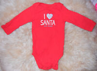 "LIKE NEW: Carter's Red Xmas Onesie ""I Love Santa & Auntie"" (9M)"