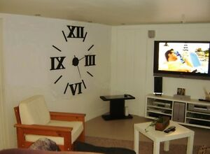 Giant wall clock, oversized roman numerals wall clock, 3D number