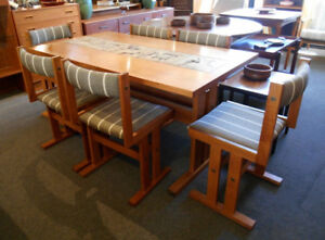 GREAT TEAK TABLE, 2 LEAVES AND 6 TEAK CHAIRS AT CHARMAINE'S
