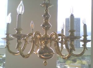 Vintage Brass and Silver Chandelier