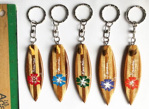 Hawaiian Surfboard Hibiscus Wooden Key Chain Jewelry Wood Hawaii Gift Aloha NIB