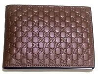 New Authentic Gucci Guccissima Micro GG Monogram Bifold Wallet Brown Unisex RRP £240