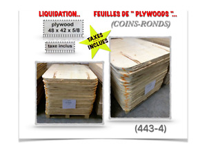 """(443-4)  """"PLYWOODS"""" 48""""X 42""""X 5/8"""" (COINS-RONDS)  3.99$ /ch. TX."""