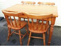 4 Pine Chairs NO TABLE