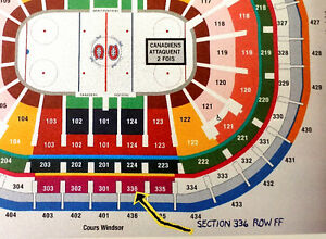 Lightning VS Canadiens, 27 oct. BLANC CENTRAL Sec. 336, $200