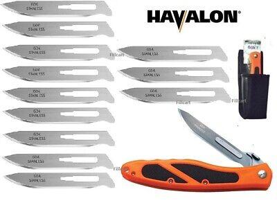 Havalon 60AEDGE Orange Black Piranta Edge Folding Knife + Sheath + 12 Blades New