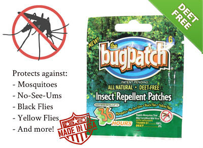 Bug Patch DEET FREE Insect Repellent Mosquito Flies 12 Count Spray No-See-Ums - Fly Free Spray Repellent