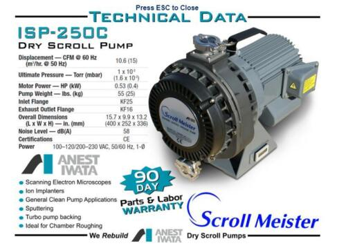 Anest Iwata  ISP-250C Scroll Dry Vacuum Pump  New with 12 month warranty