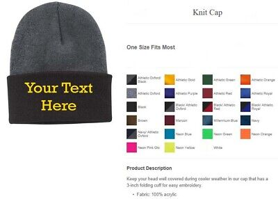 Custom Embroidery (Personalized) Embroidered Name Beanie Knit Cap w/Cuff Personalized Knit Caps