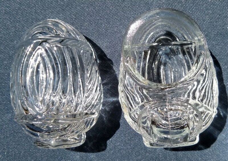 Vintage Crystal Clear Glass Bird Cage Feeder Water Cups (Pair) Made in USA