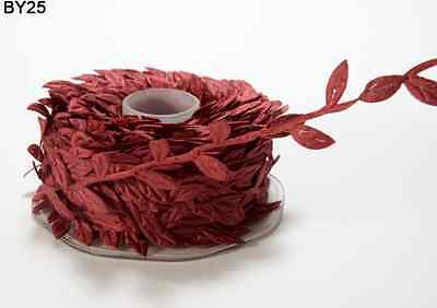(Leaves Ribbon – May Arts - Rusty Burgundy - BY25 - 5 Yards)