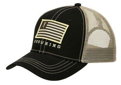 Browning Black Hat (Browning Patriot Hat Black and Tan Flag Logo Meshback Snapback 308017991)