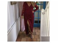 Ruby Red Lace Long Sleeved Formal Dress