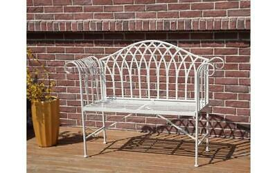 NEW Ornate Vintage White Antique Style Westwood Metal Outdoor Garden Patio Bench