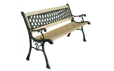 Outdoor Cast Iron Metal Wood 3 Seater Cross Lattice Garden Park Bench Seat UK