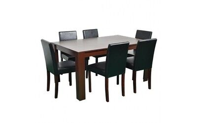 Large Walnut Dining Table and 6 Black Chairs Dinner Room Set Kitchen Furniture