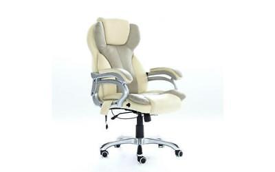 Office Massage Chair Heated Vibrating PC Gaming Racing Car Seat Cream Soft