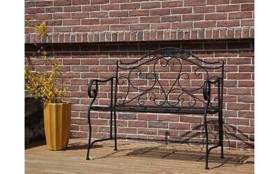 Garden Metal Cast love Bench 2Seater Patio Chair Outdoor Bistro Ornate Rustic